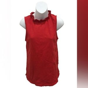 t.la Anthropologie Red Sleeveless Ruffle Top